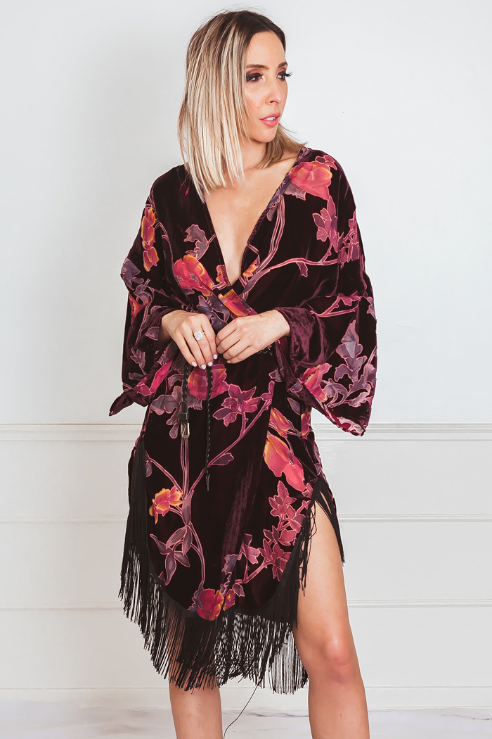 Burnt Velvet Kimono with Fringe /// Only 1-S/M Left ///