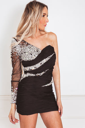 One-Shoulder Mini Dress with Sequin Detail