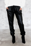 Faux Leather Track Pant - Black