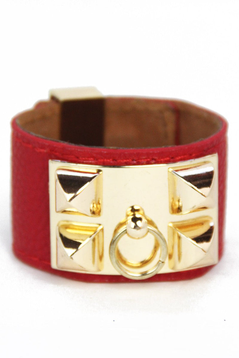 DOUBLE BUCKLE LEATHER BRACELET - Red - Haute & Rebellious