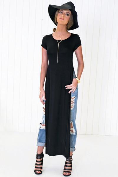 Ace Scoop-Neck High-Slit Tee Dress - Black
