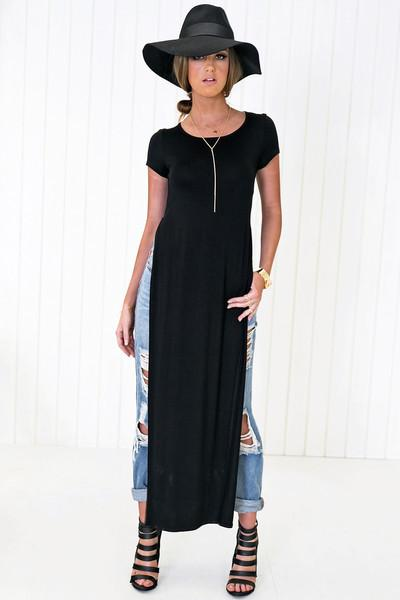 Ace Scoop-Neck High-Slit Tee Dress - Black - Haute & Rebellious