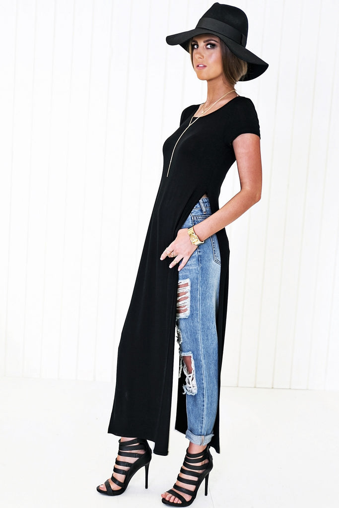 Avery Crew-Neck High-Slit Tee Dress - Black