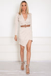 Deep-V Knit Wrap Mini Dress - Nude /// Only 1-S Left ///