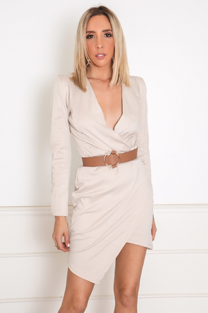 Deep-V Knit Wrap Mini Dress - Nude
