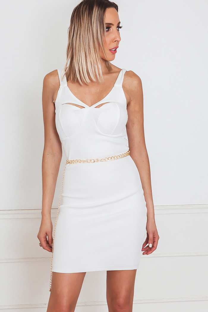 White Mini Dress with Slit Detail
