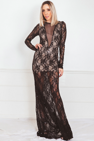 Elegant Gown with Lace & Sequins