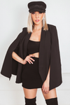 Sophisticated Cape Blazer - Black