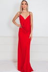 Elegant Maxi Dress with Embellished Straps - Red