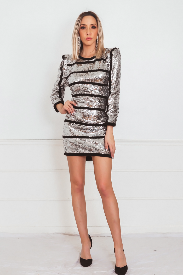 Sequin Mini Dress with Stripe Contrast
