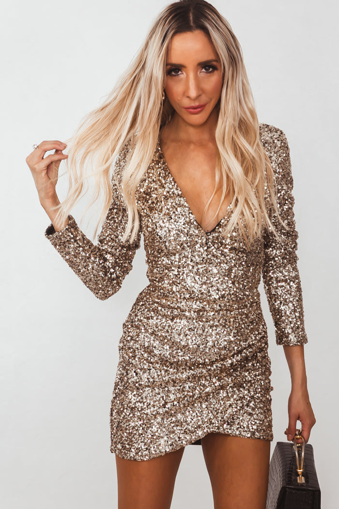 Sequins Mini Dress with Wrap Waist - Gold