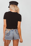 Ribbed Cropped Short Sleeve Tee - Black
