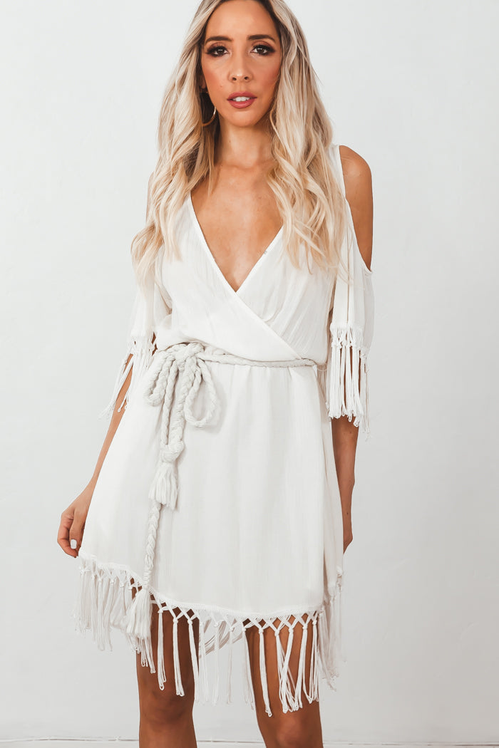 Deep-V Wrap Fringe Mini Dress /// Only 1-M Left ///