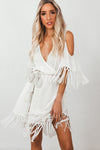 Deep-V Wrap Fringe Mini Dress