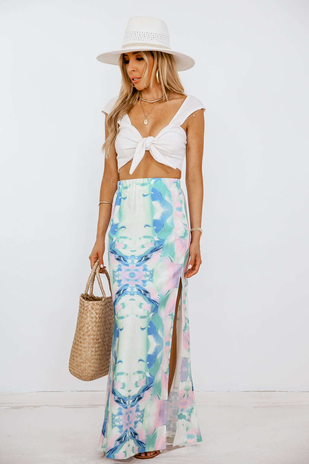 Watercolor Print Maxi Skirt with Slit