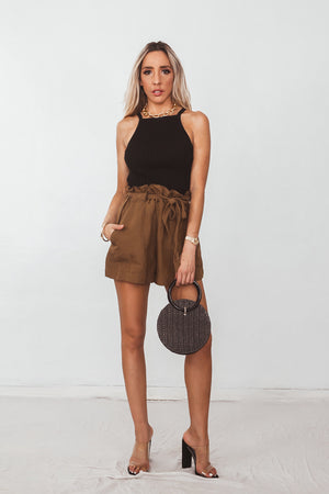 Ribbed Sleeveless Crop Top - Black