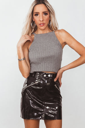 Ribbed Sleeveless Crop Top - Heather Grey