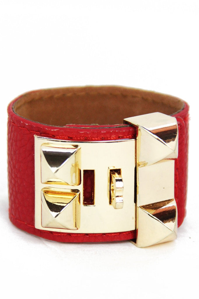 DOUBLE BUCKLE LEATHER BRACELET - Red