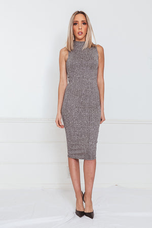 Ribbed Stretch Midi Dress