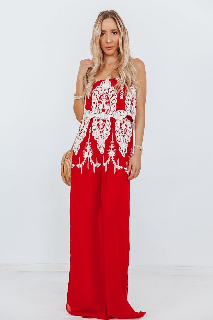 Tiered Maxi Dress with Crochet Detail