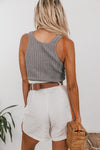 Knit Ribbed Crop Top - Grey