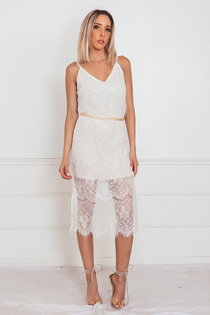 White Lace Dress with Nude Contrast