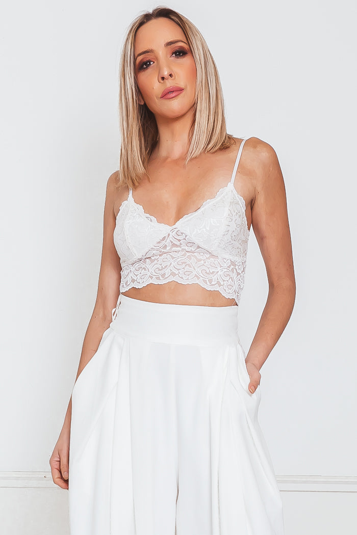 Lace Bra with Spaghetti Straps - White