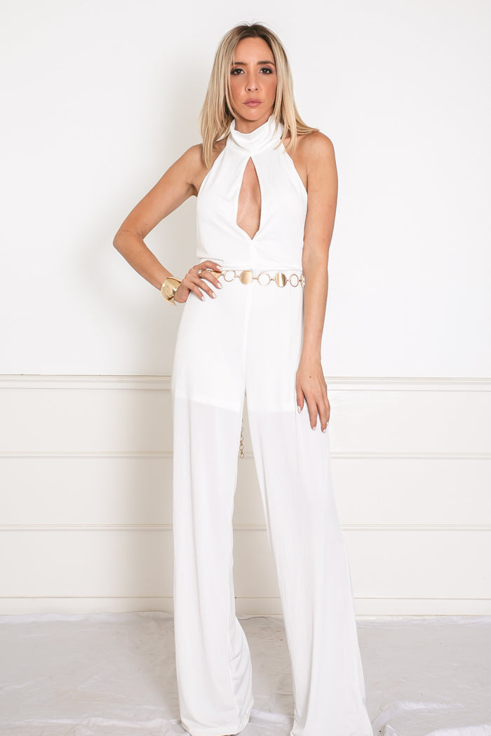 Open Back Jumpsuit with Keyhole Detail - White