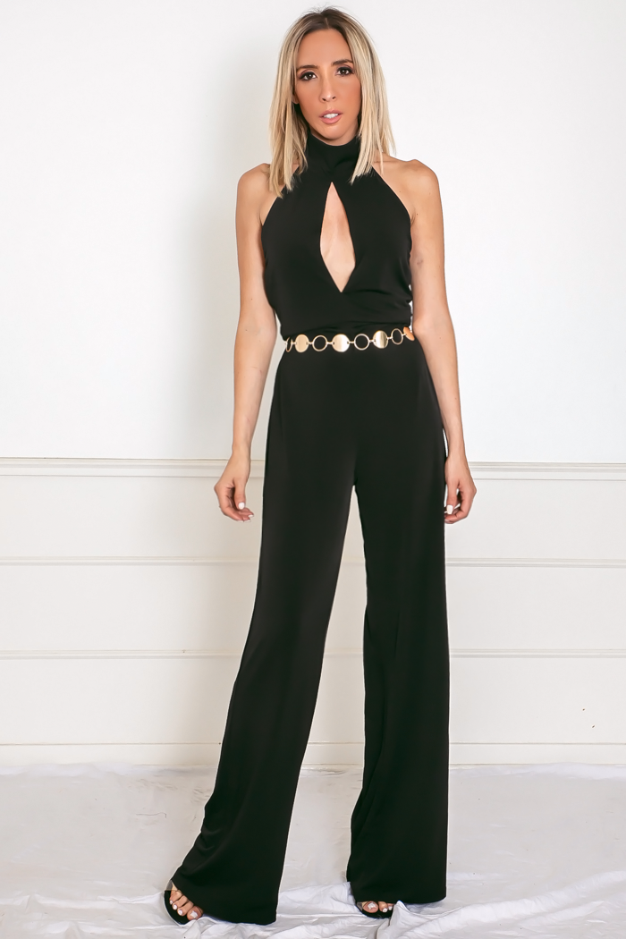 Open Back Jumpsuit with Keyhole Detail - Black