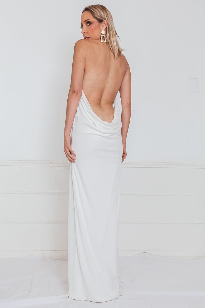 Draped Halter Maxi Dress - White