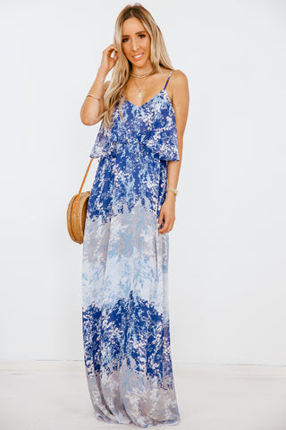 PS I Love You Floral Slit Maxi Dress