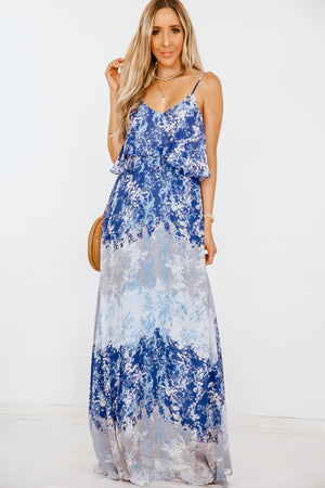 Layered Ruffle Print Maxi Dress