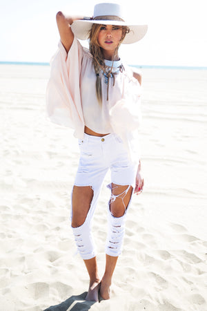 Nova Distressed Pants - White - Haute & Rebellious