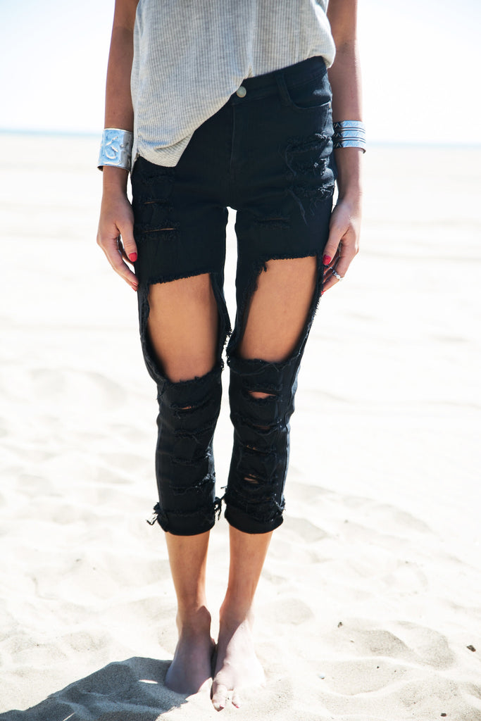 Nova Distressed Pants - Black