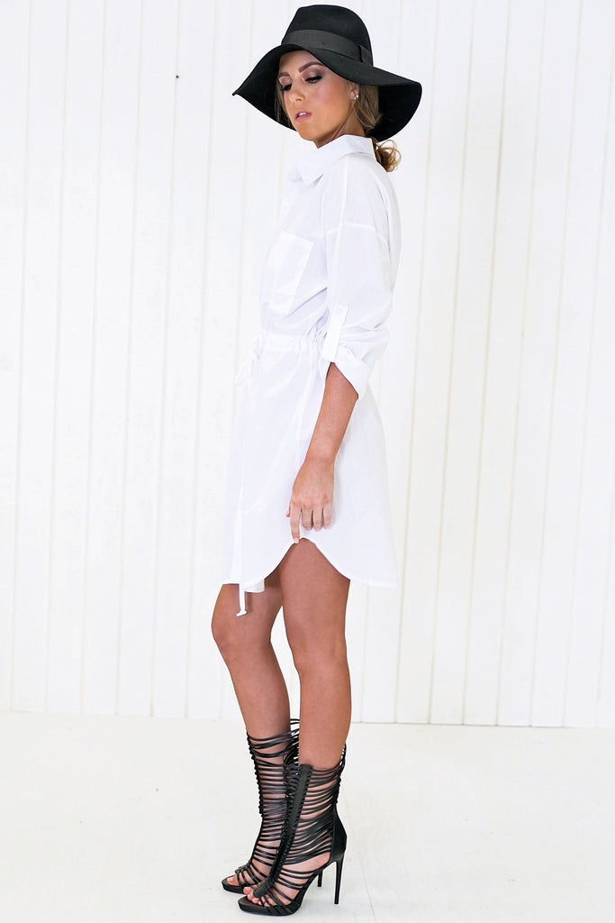 Maison Draw String Shirt Dress - Haute & Rebellious