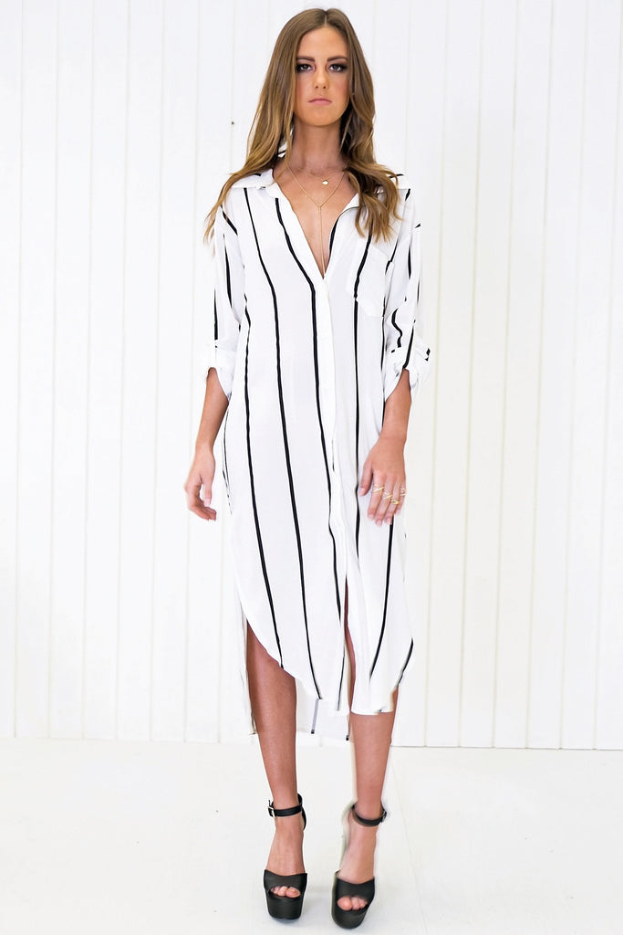 Jacob Striped High-Low Shirt Dress