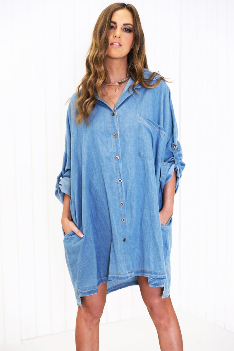 Baan Oversize Pocket Chambray Shirt - Haute & Rebellious