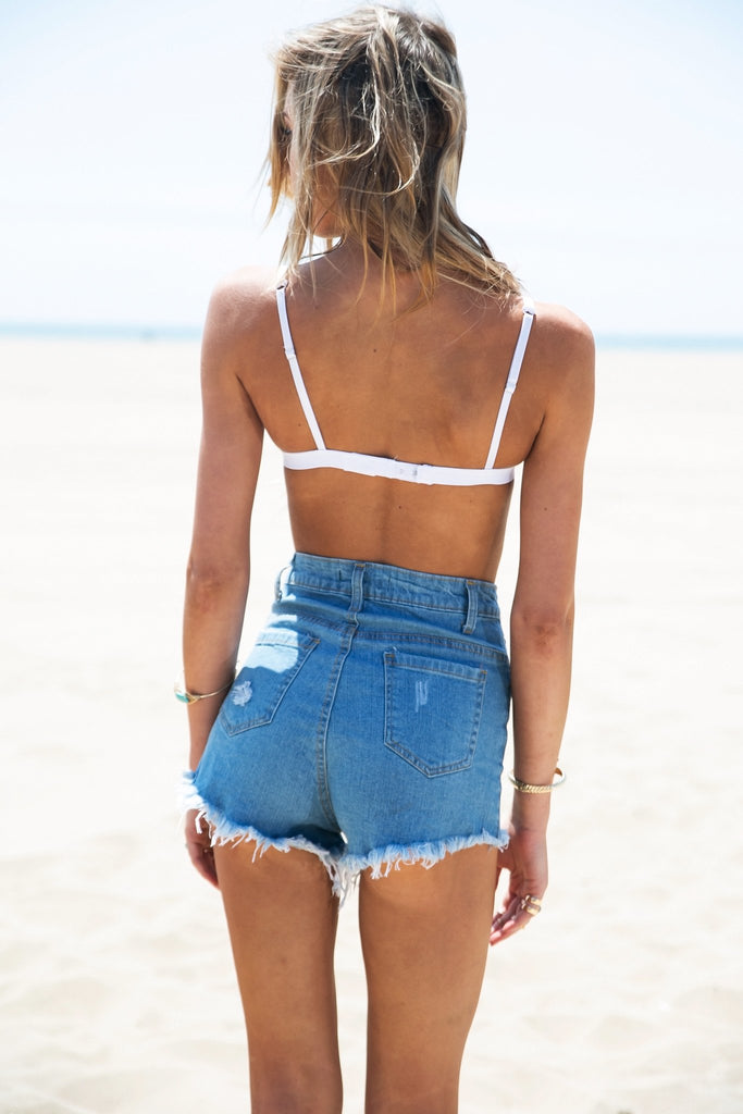 Marks High-Waisted Ripped Denim Shorts