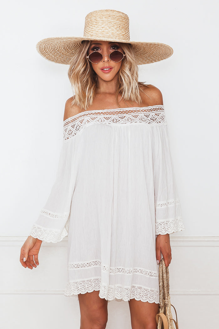 Crochet Trim Linen Sun Dress