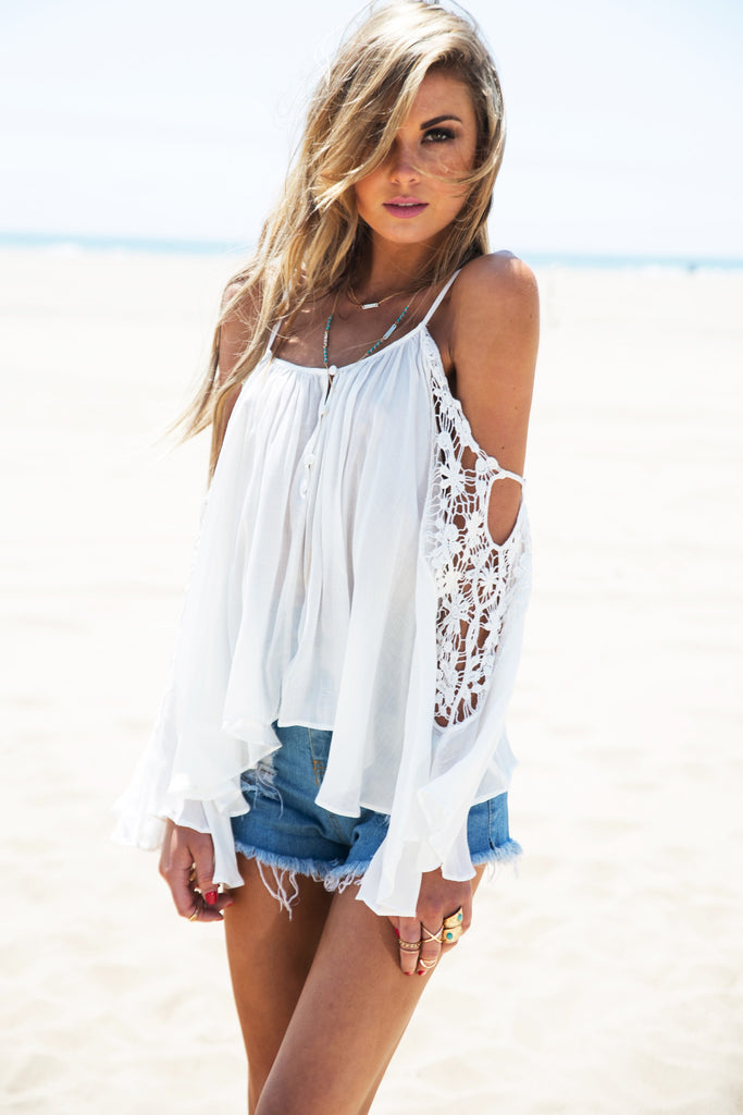 Roni Crochet Bell Sleeve Shirt - White