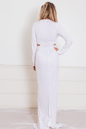 High Slit Maxi Dress with Cutout - White