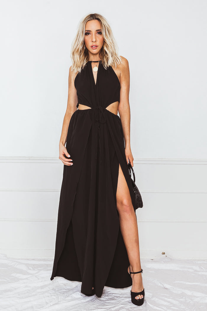 High-Slit Maxi Dress with Cutouts - Black