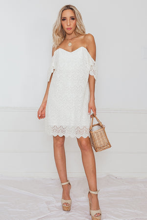 Off the Shoulder Crochet Dress - Ivory