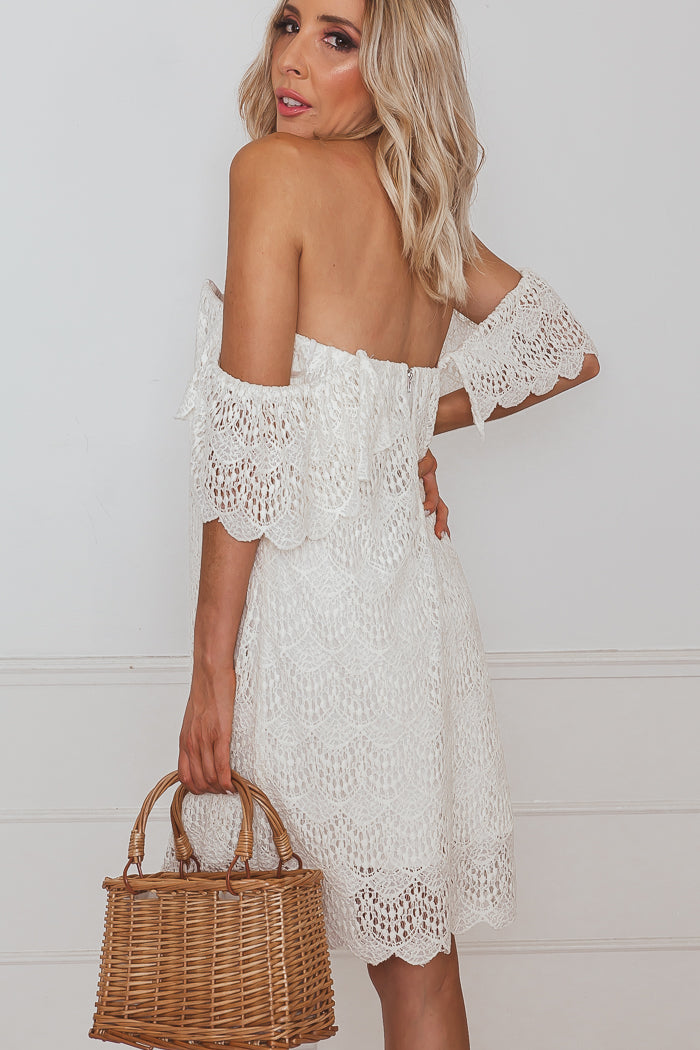 Off The Shoulder Crochet Dress Ivory