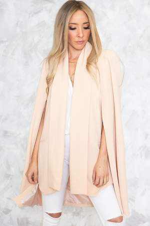 Modern Cape Blazer - Blush - Haute & Rebellious