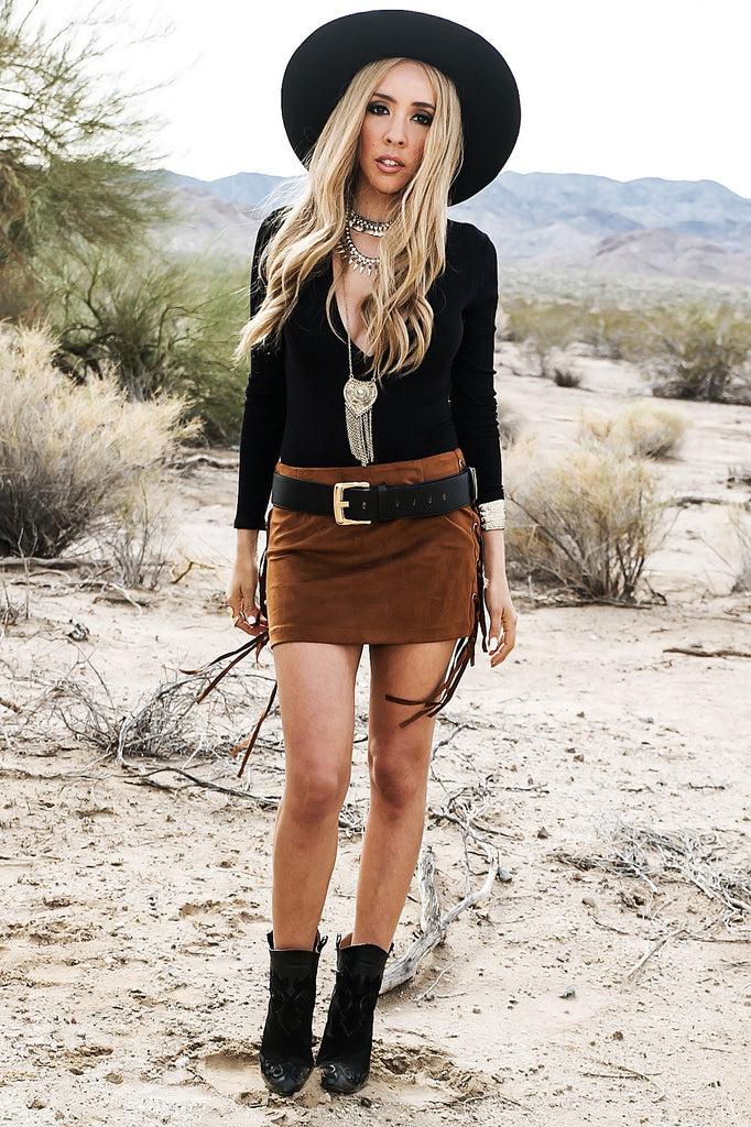 Find In You Suede Fringe Skirt