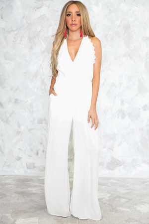 Scallop Trim Sleeveless Jumpsuit /// ONLY 1-L LEFT/// - Haute & Rebellious