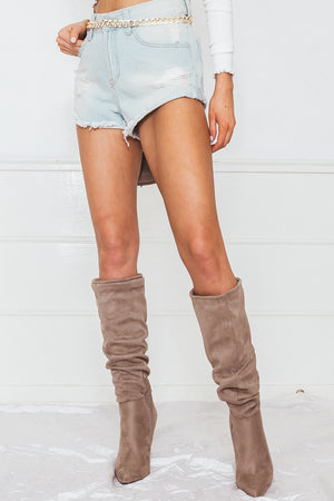 Light Wash Denim Shorts with Distressing