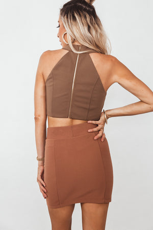 Cut out Crop Top - Tan
