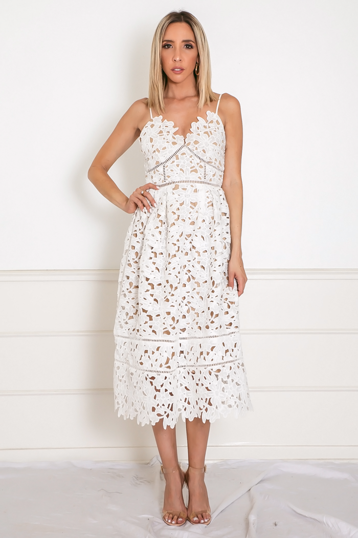 Lace Fit-and-Flare Midi Dress - White